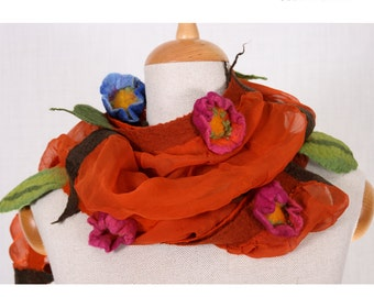 SALE!!!elegant felt, felted necklace, collar, jewerly, wrap, gorget, neckwear, fairy floral red with pink and blue flowers, gift - by inmano
