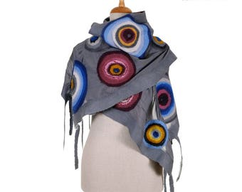 SALE!!! nuno felted eco scarf, gray and colourful circles silk felt wool nuno felted shawl, felted artistic neck wrap, felted wool scarf