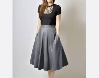 Gray Midi Skirt, High Waisted Grey, Skirt with Pockets, Fit and Flare