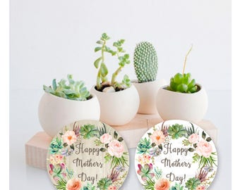Mother's day succulent floral design gift tags- DIY Printable file