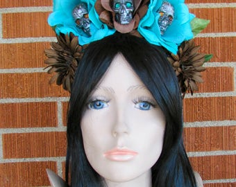 Rose Skull Crown, Day of the Dead Flower Crown, Día de los Muertos Headdress, Skull Headband, Brown and Turquoise Rose Crown, Flower Wreath