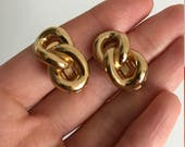 Vintage CHRISTIAN DIOR gold chain link clip on earrings