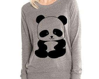 Panda Womens Long sleeve Pullover shirt silkscreen