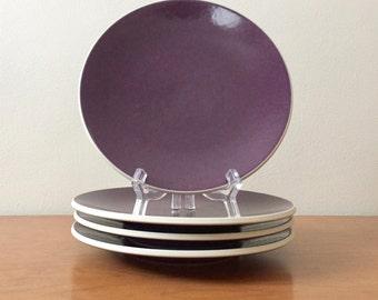 Vintage Vignelli Sasaki Colorstone Salad Plates in Plum -- Set of 4