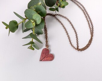 Copper Heart Necklace - Romantic Gift - Long Necklace - Copper Pendant - Nature Necklace - Leaf Pendant -  Woodland Jewellery