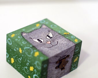 Small jewelry box Cat wooden box for rings Hand painted jewelry box Small storage box Painted wooden jewelry box Trinket box for jewelry