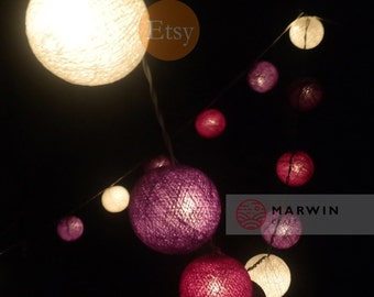 20 Cotton Balls Purple Tone Fairy String Lights Party Patio Wedding Floor Table Hanging Wall Gift Home Decor Living Bedroom Holiday Night