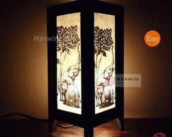 Asian Oriental Thai Elephant Zen Art Bedside Thai Floor Table Lamp Desk Paper Light Shades Gift Living Bedroom Furniture Home Decor