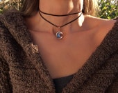 Crescent Moon Choker Necklace - Bismuth Crystal Jewelry - Custom Made - Moon Necklace - Copper Pendant - Boho Choker - Leather Wrap Choker