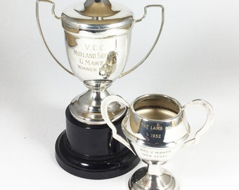 Antique silver plate trophy cups EPNS sports trophy cup with handles, Lidded, Vintage home decor