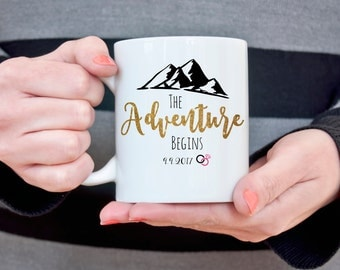 Personalized Wedding Coffee Mug Adventure Begins Customizable Wedding Gift Unique Bridal Shower Gift for Bride Gift for Her Newlywed Gift