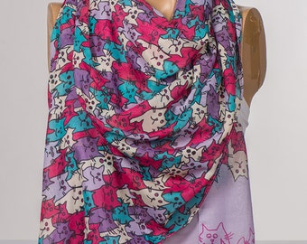 Lilac and Purple and Pink Cats Scarf. Long Animals Scarf Wrap. Spring neck wrap shawl. NEW Women neck wrap.