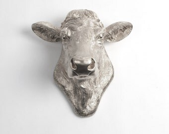 Cow Head Decor by White Faux Taxidermy - The Bessie - Cow Head Wall Mount - Farm Animal Decorations - Cattle Decor - Farmhouse Wall Decor