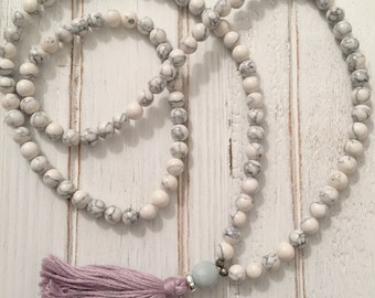 Calming Mala- White howlite beaded mala necklace with light purple tassel; mala beads; tassel necklace
