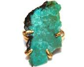 Arizona Turquoise Ring Raw Stone Adjustable Ring Natural Stone Ring Slab Ring Turquoise Chunky Ring Turquoise Large Ring Aqua