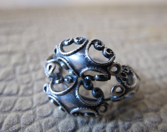 BEAU Sterling Filigree Silver Ring. 1940's-1950's Era Sterling Jewelry. American Made Signed Silver Mid Century Jewelry. Women's 925 Silver