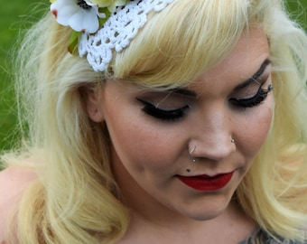 The Darla Lace with Yellow Rose and Dogwood Blossom Fascinator