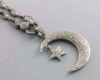 Pave Diamond Pendant, Pave Diamond Moon W/star Charm, Pave Star And Moon Necklace, Pave Moon With Star, Oxidized Silver. (DCH/CR556)