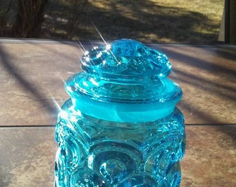 """Vintage L E Smith Moon & Stars - Blue 5 1/2"""" Tea Canister With Lid"""
