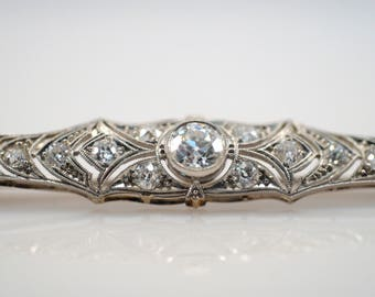 2 cttw Carat Diamond Art Deco Victorian Old European Cut Bar Pin Brooch Veil Bride