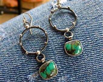 Natural Turquoise Hoop Earrings - Small Hoop Earrings - Dangle Hoops- Small Hoops - Silver and Turquoise -Eclipsed