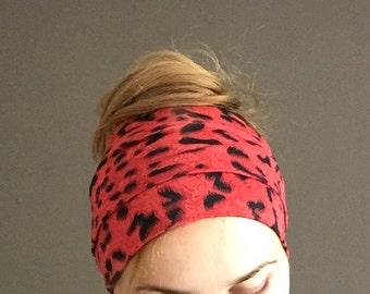 Red Cheetah Head Scarf jersey head wrap long head band hair loss head cover headwrap headscarf boho bad hair day accessory