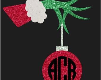 Christmas Grinch hand  Iron on applique, Glitter monogram, Grinch hand applique