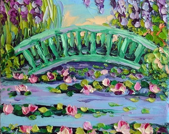 "Original Oil Painting Lily Pond Wisteria Bridge Garden Landscape Painting France Small Palette Knife Art on Canvas 8x8""  Ready to Hang"