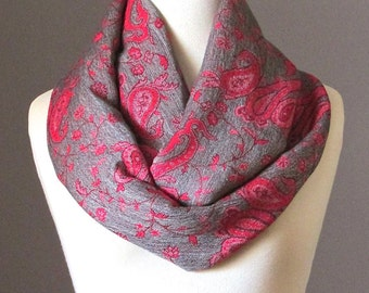Infinity scarf,  grey and red scarf, pashmina scarf, delicate paisley scarf
