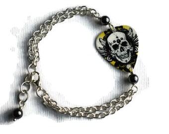 Skull Plectrum Bracelet - Guitar Pick Jewelry - Alternative Fashion -  Black and Yellow Bracelet - Skull Bracelet - Goth Bracelet