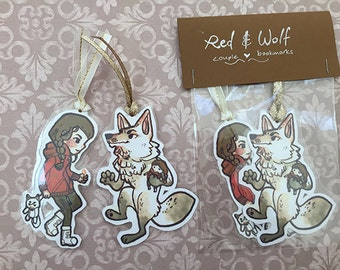 Red and Wolf Laminated Couple Bookmarks