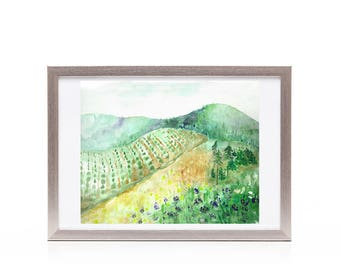 Wall decor, art for wall, Napa vineyard mountain landscape, art print from original watercolor painting, gift for him, gift for her, office