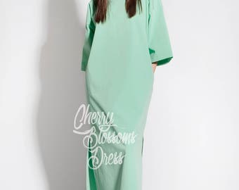 Mint Summer dress/ Elegant dress/ Long sleeve dress/ Maxi Dress/ Summer Maxi Dress/ Day dress/ Plus size dress/ Plus size clothing