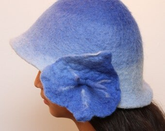 Women Hat Hand Felted Merino Wool : Blue or Grey Hat