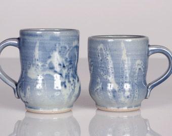 Iris Mug - Unique Handmade Ceramic Mug in Water Blue with Abstract Watercolor Iris Flowers. Coffee Mug, Tea Mug - Home & Holiday Gifts