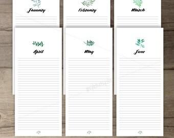 Printable Birthday Calendar •Perpetual Calendar • Watercolor leaves greenery • printable gifts