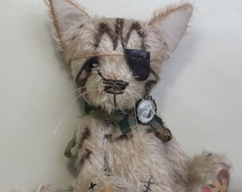 Mohair Tabby Cat with Eyepatch - vintage style - handmade - collectable teddy - MADE TO ORDER