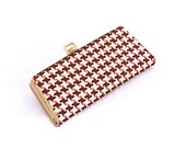 50s Vintage EyeGlass Case COMPACT CLUTCH Red Eye Wear HandBag Purse HOUNDSTOOTH Checked Woman's Travel Carry Cases Sun Glasses Accessory Bag