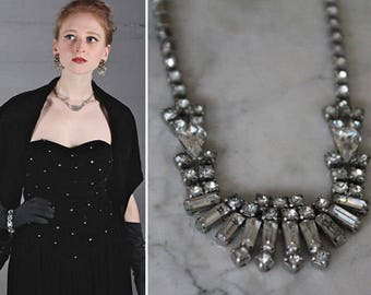 50s RhineStoned NeckLace ART DECO White Faux Diamonds CHOKER Crystal Glass Glam Costume Jewelry Vintage Holiday New Years Eve Prom Accessory
