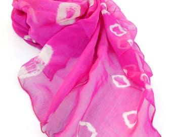 long pink silk scarf, tie dye scarves, small silk shawl, hippie scarves, indian boho bohemian festival scarves, silk wrap