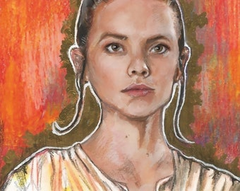 A4 print of Rey from Star Wars the Force Awakens