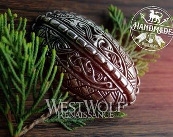 Viking Domed Oval Dragon-Bird Brooch -- Norse/Celtic/Silver/Raven/Thor/Odin/Tortoise Brooch/Pin