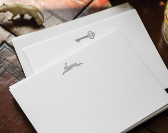 Flat Card Set with Letterpress Rabbit in matte silver