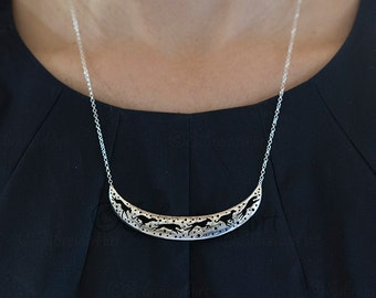 3D Whippet crescent necklace - sterling silver
