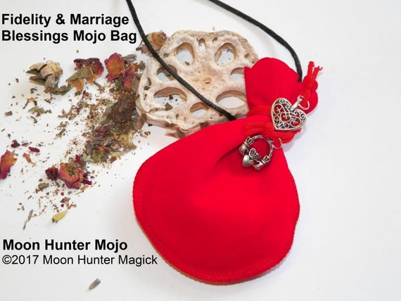 Fidelity & Marriage Blessings Handfasting Mojo Bag Moon Hunter Mojo Hand Made