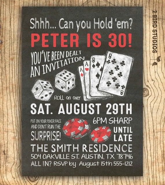 surprise 30th birthday invitation casino theme party, Birthday invitations
