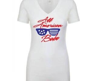 All American Babe Shirt - Womens T-Shirt. Long Length Tee. Black and White Top Ladies Shirt. V- Neck