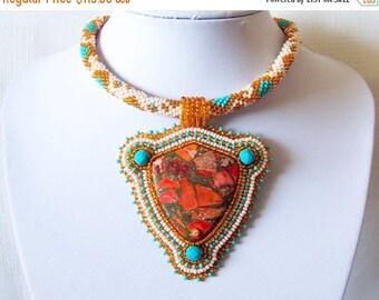 15% SALE Bead Embroidery Statement Beadwork Pendant Necklace with Orange sea sediment jasper - BEAUTY SCUTUM - orange - turquoise - ivory -