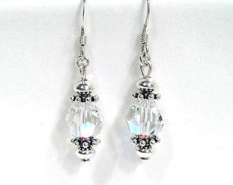 Small Dangle Earrings, Swarovski Crystal, Beaded Jewelry, Custom Earrings, Sterling Silver Earrings, Crystal Jewelry, Swarovski Earrings