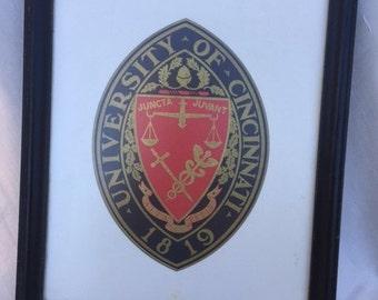 University of Cincinnati 1819 Seal Emblem -   Framed Art - Red, Black, White